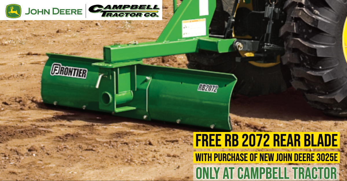 Free RB 2072 Rear Blade with purchase of a new John Deere 3025E